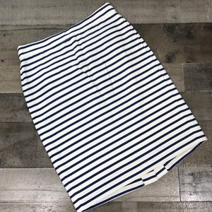 J. Crew The Pencil Skirt White Blue Stripe Sz 00